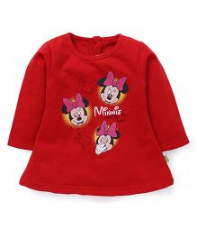 Bodycare Full Sleeves Minnie Mouse Print Frock - Red