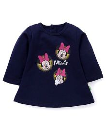 Bodycare Full Sleeves Minnie Mouse Print Frock - Navy