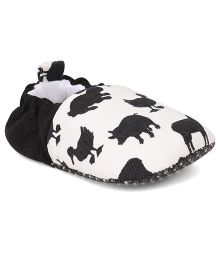 Jute Baby Loafer Style Booties With Animal Print - White & Black