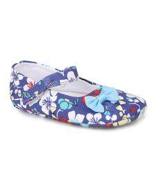 Jute Baby Bellies Style Floral Printed  Booties - Blue