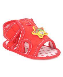 Jute Baby Sandal Style Booties - Red
