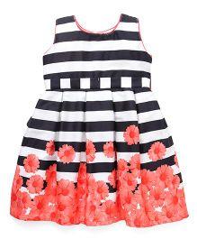 Doodle Sleeveless Stripe Party Dress Floral Print - Black Orange