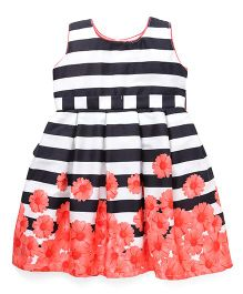Doodle Sleeveless Stripe Party Dress Floral Print - Black Orange