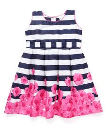 Doodle Sleeveless Stripe Party Dress Floral Print - Black Pink