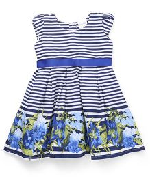 Doodle Cap Sleeves Striped Frock With Floral Hem - Blue