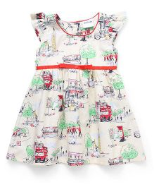 Doodle Cap Sleeves Multi Printed Frock - Light Yellow