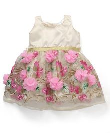 Doodle Sleeveless Party Frock Floral Appliques - Golden