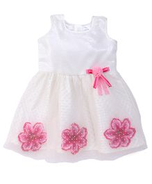 Doodle Sleeveless Party Wear Frock With Flower Applique - Off White Pink