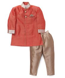 Robo Fry Full Sleeves Kurta And Pant Set - Red Beige