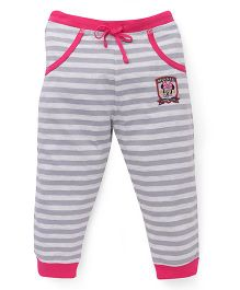 Bodycare Striped Track Pants With Minnie Print - Grey Pink