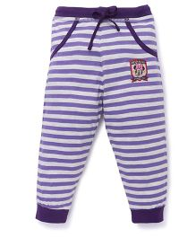 Bodycare Striped Track Pants With Minnie Print - Violet Purple