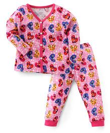 Bodycare Full Sleeves Night Suit Heart Print - Pink