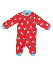 Earth Conscious Full Sleeves Organic Cotton Romper Owl Print - Red