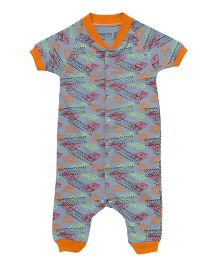 Earth Conscious Half Sleeves Organic Cotton Romper Cars Print - Multicolor