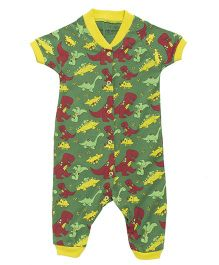 Earth Conscious Half Sleeves Organic Cotton Romper Dinosaur Print - Green