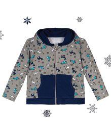 Chic Bambino Hoodie Reindeer Design - Grey & Blue
