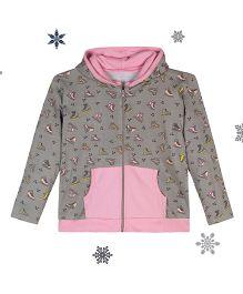 Chic Bambino Hoodie With Skates Design - Grey & Pink