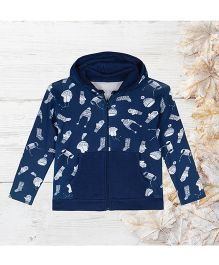 Chic Bambino Hoodie With Winter Design - Blue & White