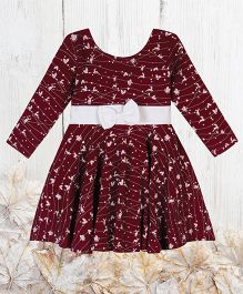 Chic Bambino Dress With Bow Festive Design - Maroon & White