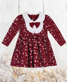 Chic Bambino Festive Design Dress With Frilled Bib - Maroon & White