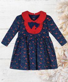 Chic Bambino Fox Design Dress With Frilled Bib - Navy Blue & Red