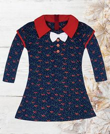 Chic Bambino Fox Print Dress With Winged Sleeves - Blue & Red