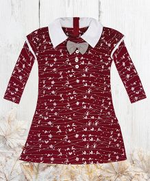 Chic Bambino Festive Design Dress With Winged Sleeves - Maroon & White