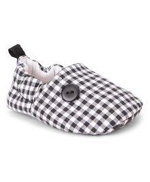 Ivee Checkered Print Booties - Black