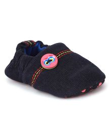 Ivee Stylish Booties With Buttons - Navy Blue