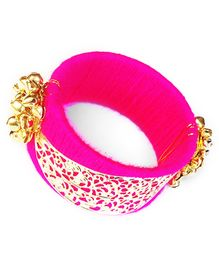 Akinos Kids Ethnic Bangle With Golden Beads - Hot Pink