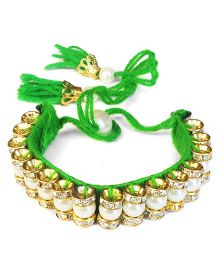 Akinos Kids Ethnic Wedding Pearl Armlet - Green