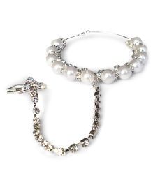 Akinos Kids Pearl & Diamond Adjustable Bracelet With Adjoining Ring Attached- White & Silver