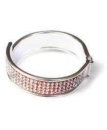 Akinos Kids Elegant Diamond Studded Bangle - White & Silver