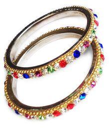 Akinos Kids Ethnic Bangles With Multi Diamond Stones - Multicolour