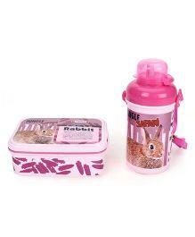 Jewel Jungle Safari Rabbit Print Lunch Box & Water Bottle Set - Pink