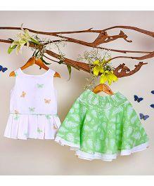 Liz Jacob Butterfly Print Flutter Skirt & Top - Lemon Green