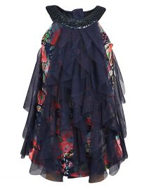 Chicabelle Girls Halter Neck With Sequinned Work Dress - Navy Blue