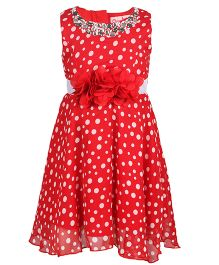 Chicabelle Polka Dot Dress With Stone Work On Neck - Red
