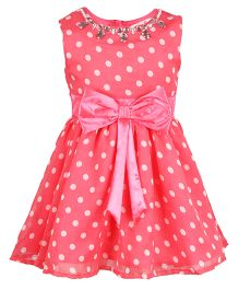 Chicabelle Stone Work On Neck With Bow Applique At Waist Polka Dot Dress - Coral