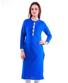 Dove Apparel Full Sleeves Woolen Maternity Wear Kurti - Royal Blue