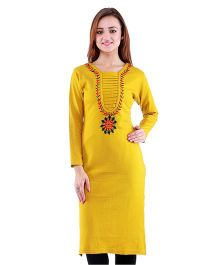 Dove Apparel Full Sleeves Woolen Maternity Wear Kurti - Light Mustard