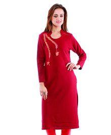 Dove Apparel Full Sleeves Woolen Maternity Wear Kurti - Maroon