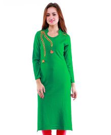 Dove Apparel Full Sleeves Woolen Maternity Wear Kurti - Parrot Green