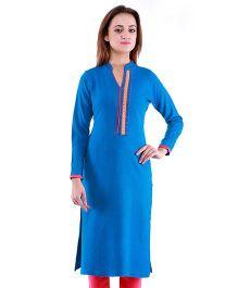 Dove Apparel Full Sleeves Woolen Maternity Wear Kurti - Azure Blue