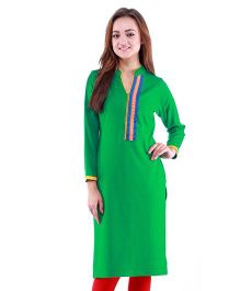 Dove Apparel Full Sleeves Woolen Maternity Wear Kurti - Green