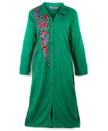 Dove Apparel Full Sleeves Winter Woolen Maternity Kurti Floral Embroidery - Green