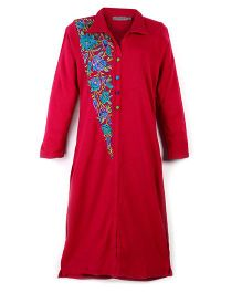 Dove Apparel Full Sleeves Winter Woolen Maternity Kurti Floral Embroidery - Magenta