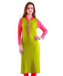 Dove Apparel Full Sleeves Woolen Maternity Wear Kurti - Green Pink