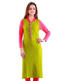 Dove Apparel Full Sleeves Woolen Maternity Wear Kurti - Green Pink