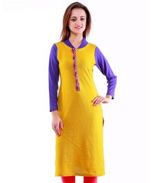 Dove Apparel Full Sleeves Woolen Maternity Wear Kurti - Mustard Purple